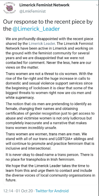 Link to the text of the Limerick Feminist Network's objections to the reporting.